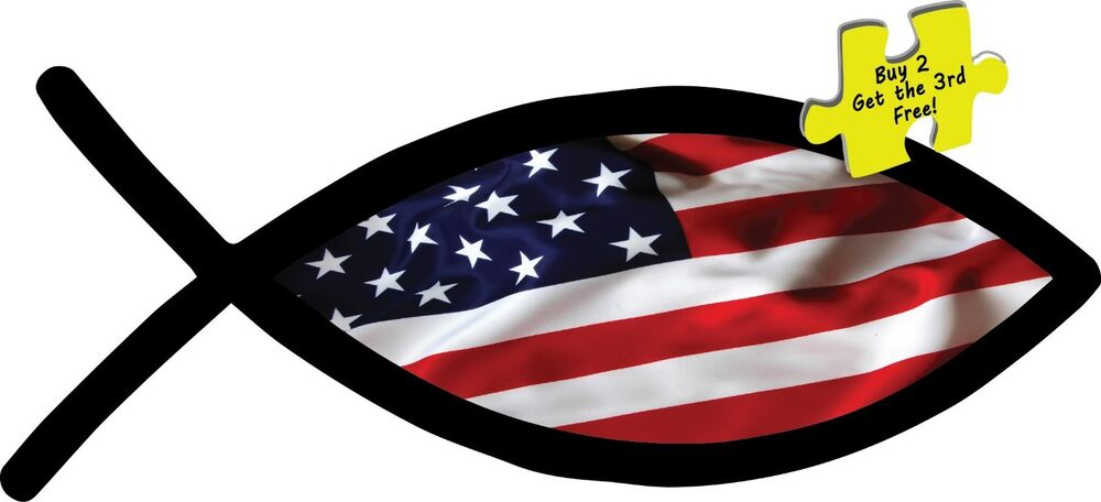 Proud american christian fish flag liberty decal sticker 3 for American flag fish