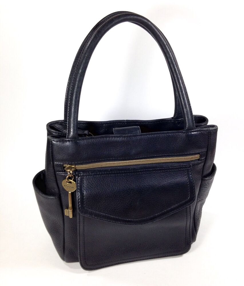 Fossil Black Leather Handbag Key Tote Purse Shoulder Bag 1954 Square 75082 Ebay