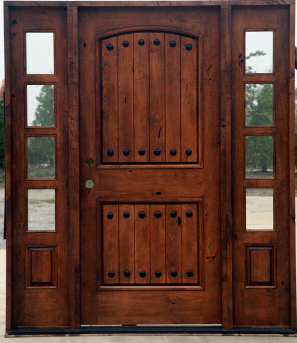Tuscan Knotty Alder 2 Panel Arch Top Entry Door With Side