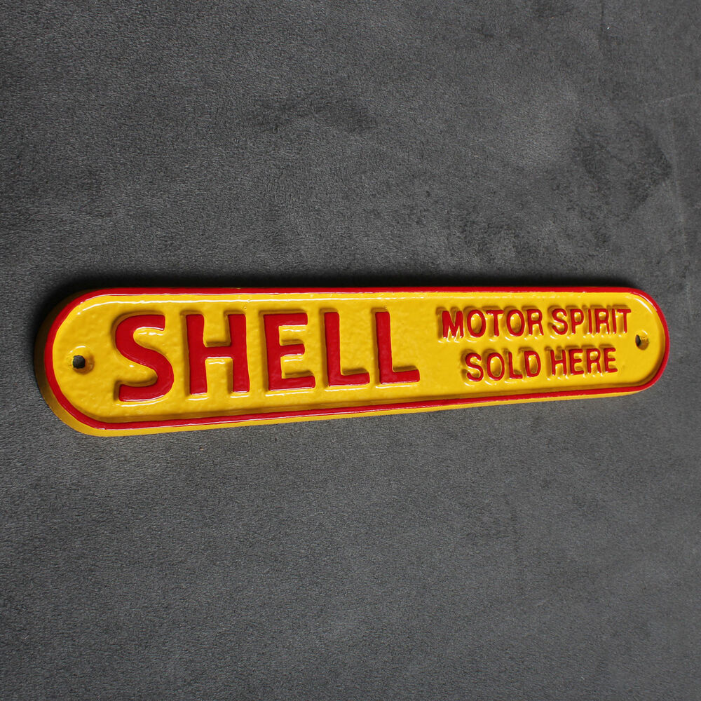 Shell Garages: SHELL GARAGE SIGN SOLID CAST ALUMINIUM