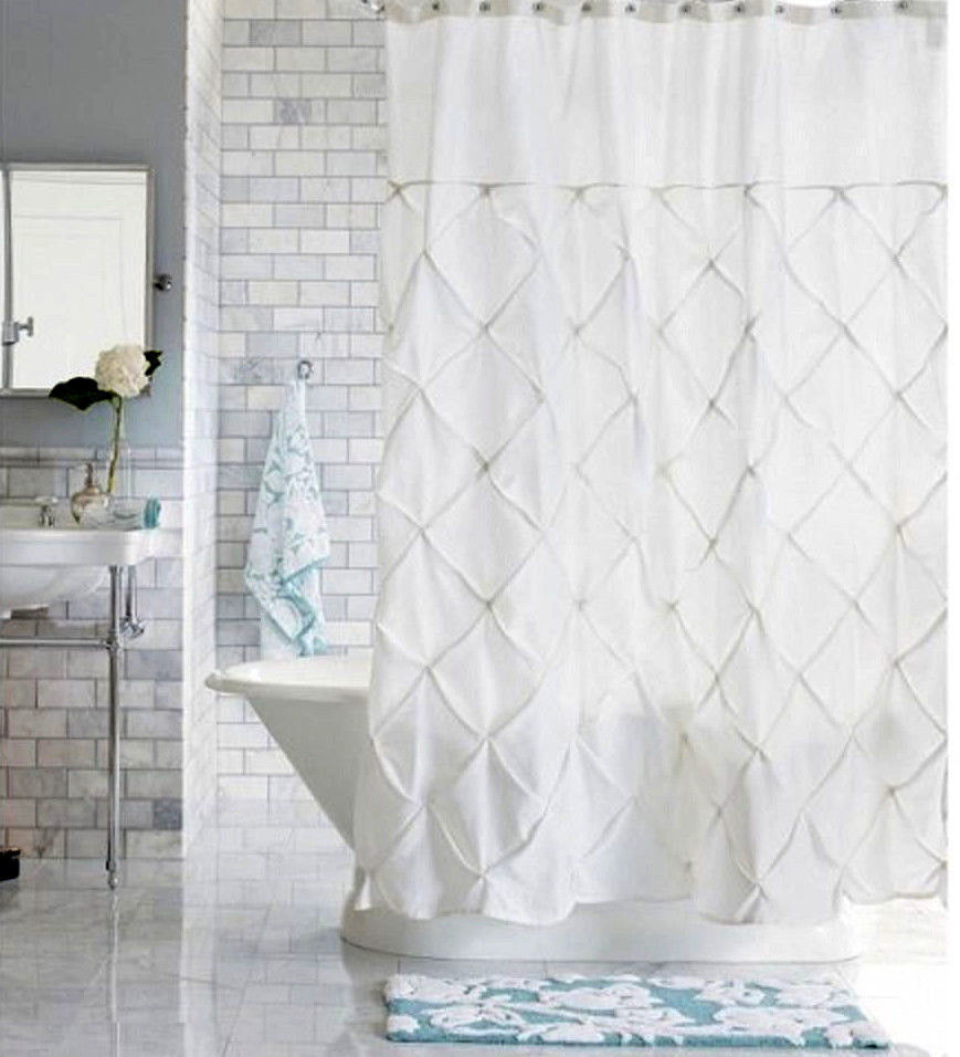 Threshold White Pinch Pleat Shower Curtain Ebay