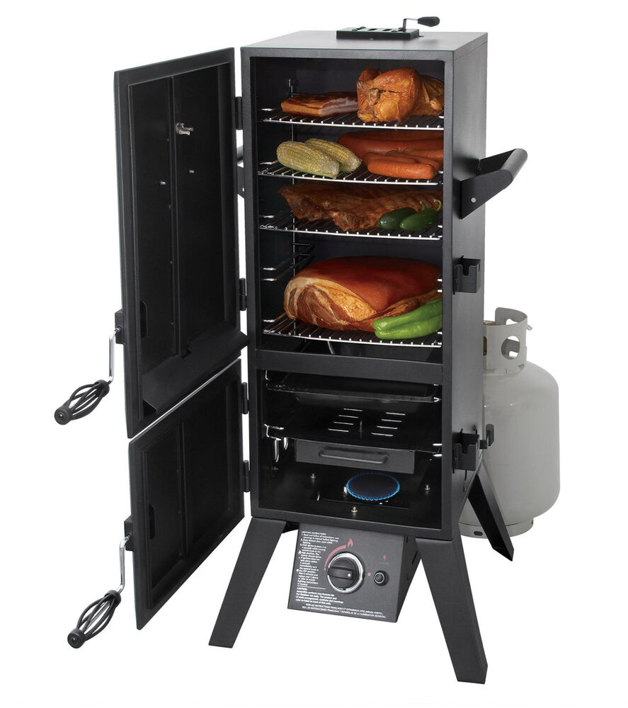 grills and smokers propane gas meat bbq box double 2 door vertical grilling new ebay. Black Bedroom Furniture Sets. Home Design Ideas