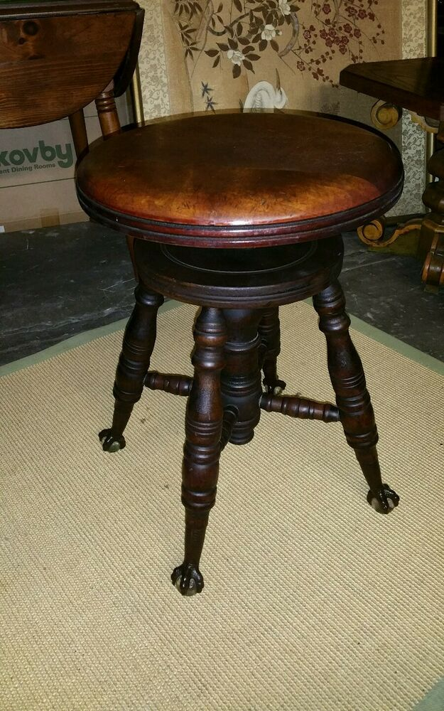 Antique 19th C Charles Parker Co Piano Organ Stool With