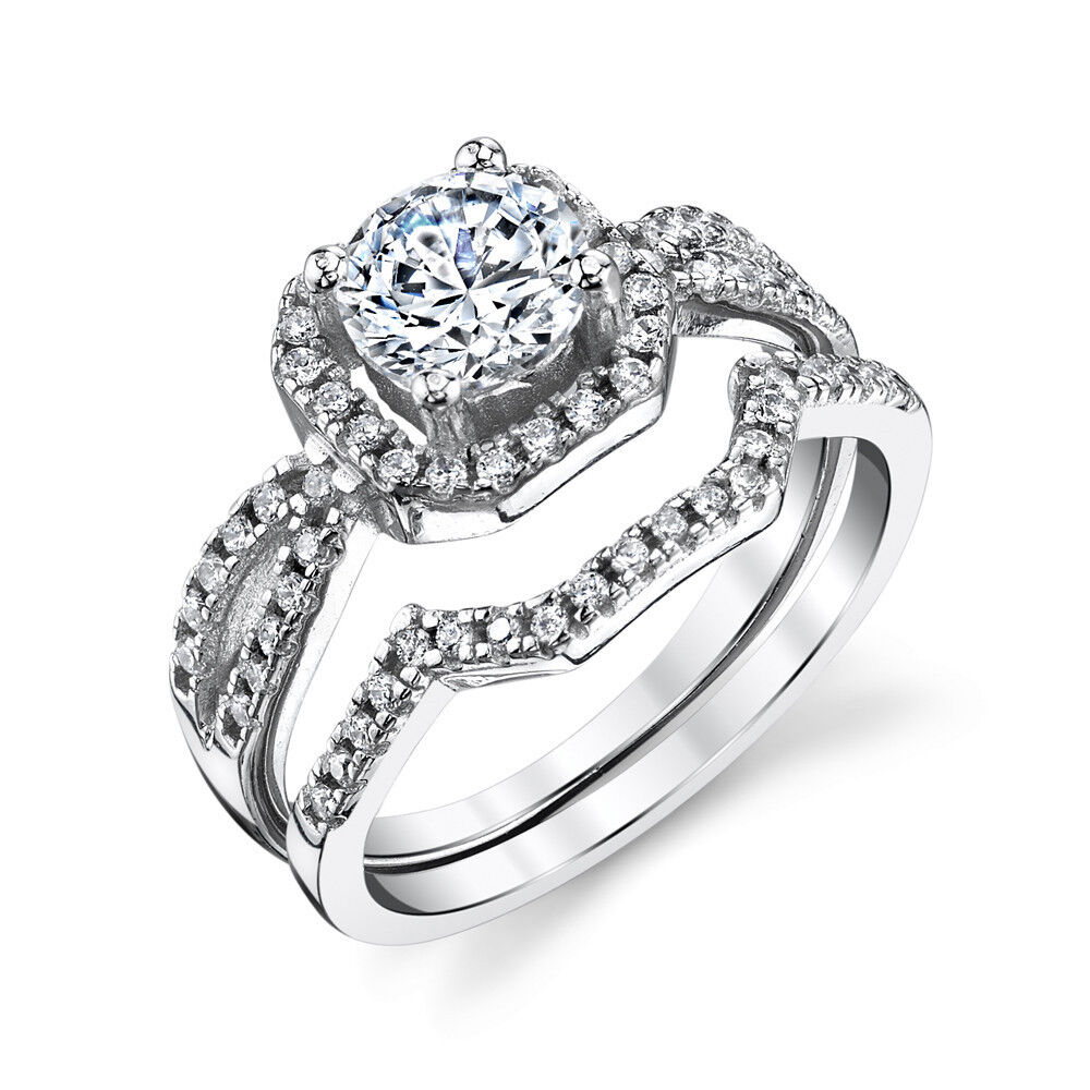 Sterling silver cz engagement wedding ring set cubic for Sterling silver cubic zirconia wedding rings