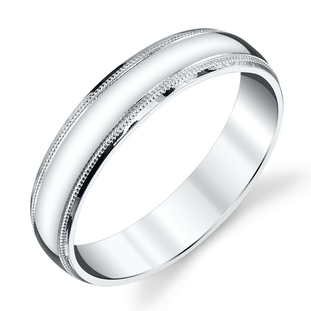 925 Sterling Silver Mens Wedding Band Ring 5mm Classic Plain Milgrain Design | EBay