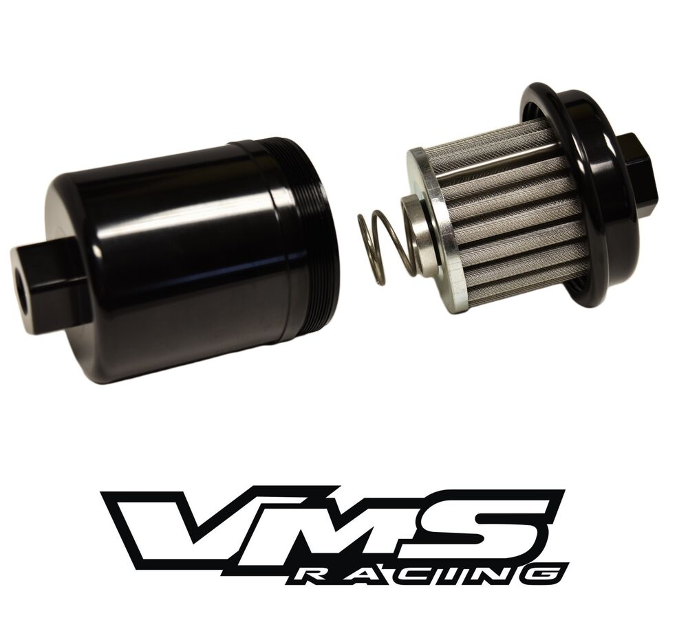BLACK ALUMINUM DIRECT FIT HIGH FLOW RACING FUEL FILTER FOR
