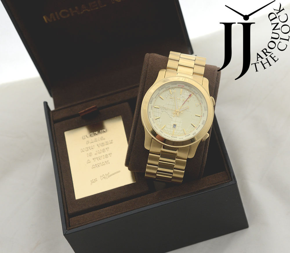 New michael kors runway gold tone gmt world map watch oversize new michael kors runway gold tone gmt world map watch oversize mk5960 44mm ebay gumiabroncs Images
