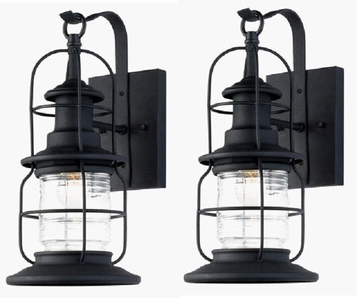 2 Pack Black Outdoor Wall Mount Jelly Jar Lantern Lights