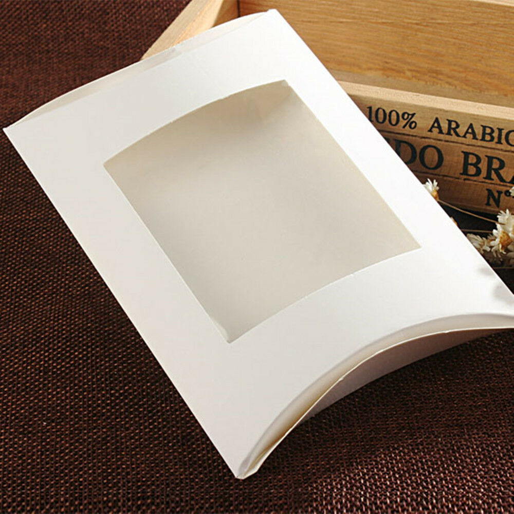 White Paperboard Pillow Box With Clear Window Candy Party