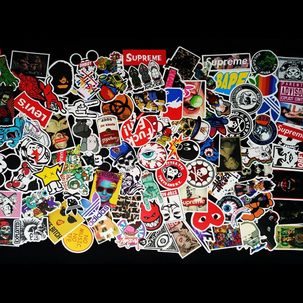 100pcs Skateboard Stickers Pack Car Skate Snowboard Laptop