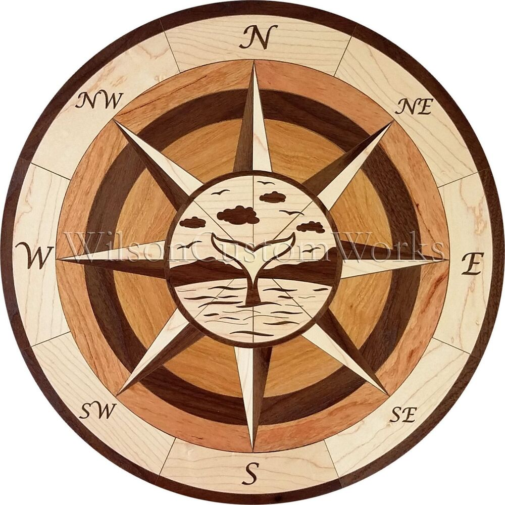Green Compass Rose Floor Medallion : Quot wood floor inlay piece whale tail compass