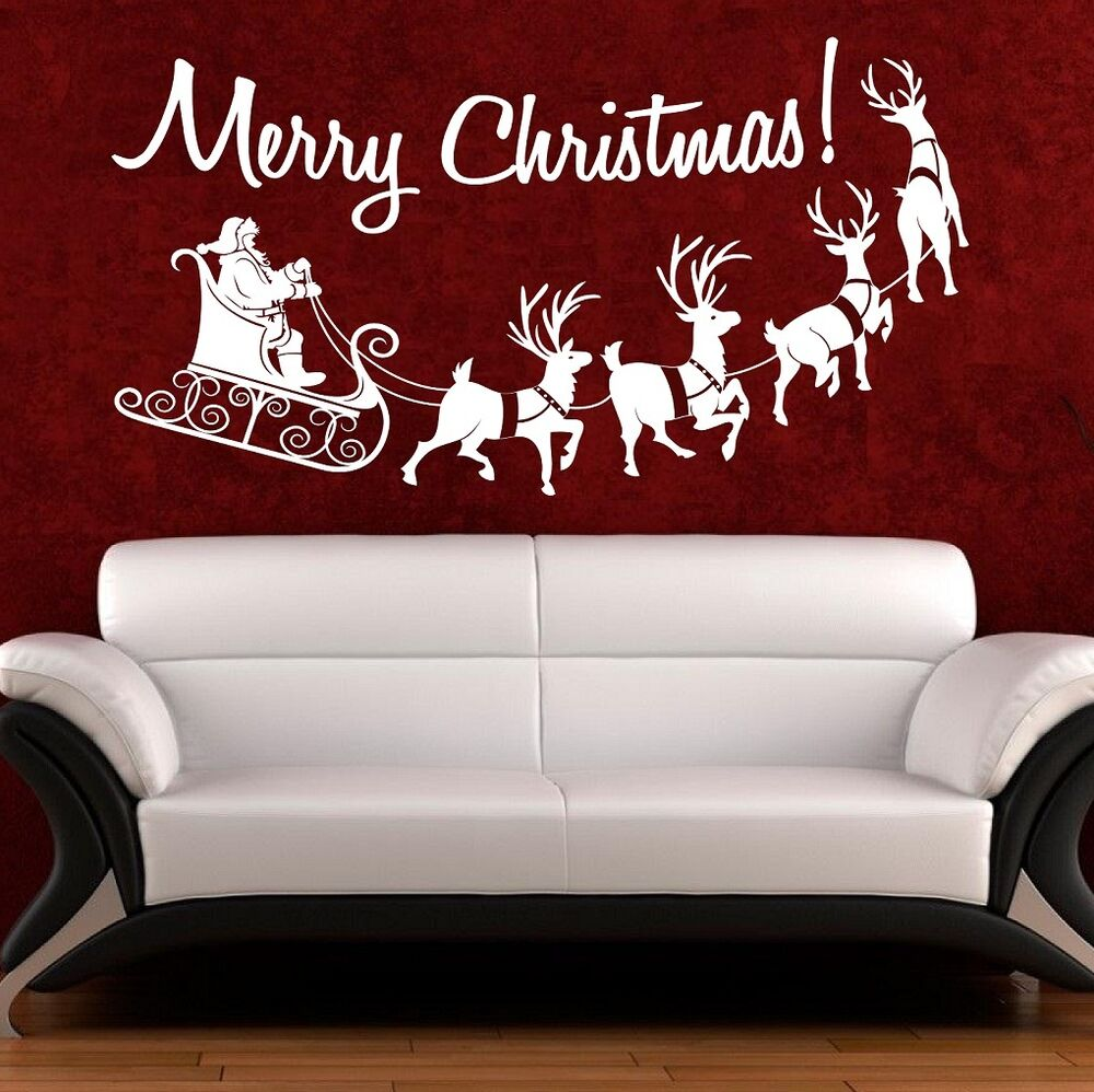 Christmas wall art quote sticker merry christmas window for Christmas window mural