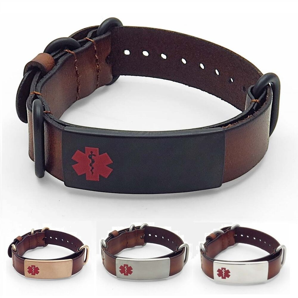Idtagged Adjustable Brown Leather Medical Alert Id