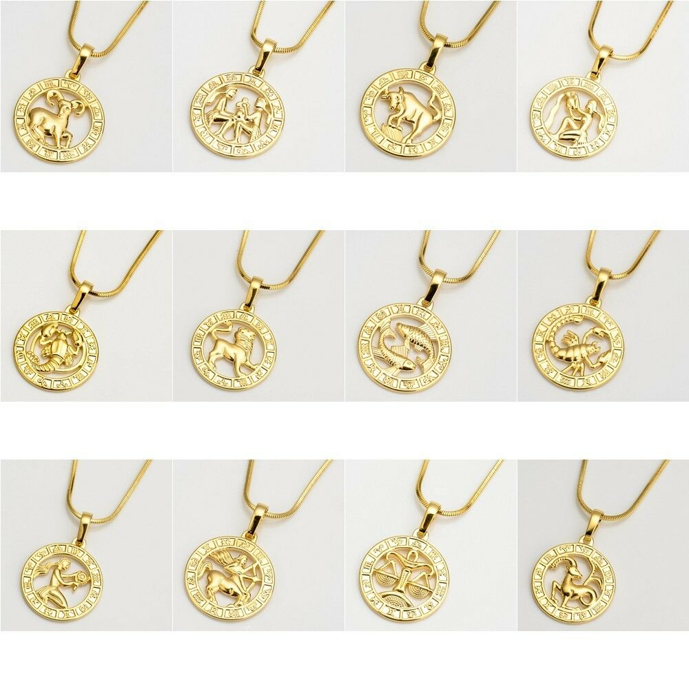 Zodiac Sign Gold Medallion Chain Necklaces 12 Variants: NEW 18k Yellow Gold Filled 12 Horoscope Pendant Necklace