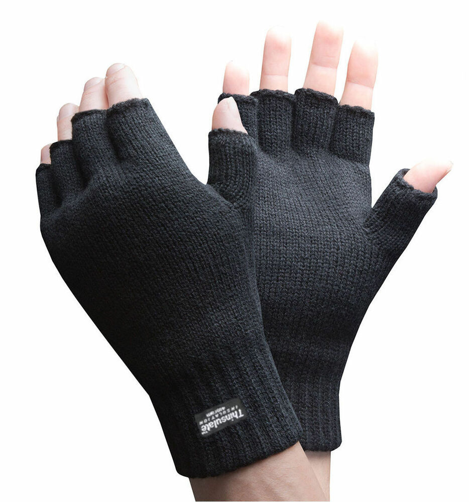 mens thermal thinsulate knitted fingerless gloves winter