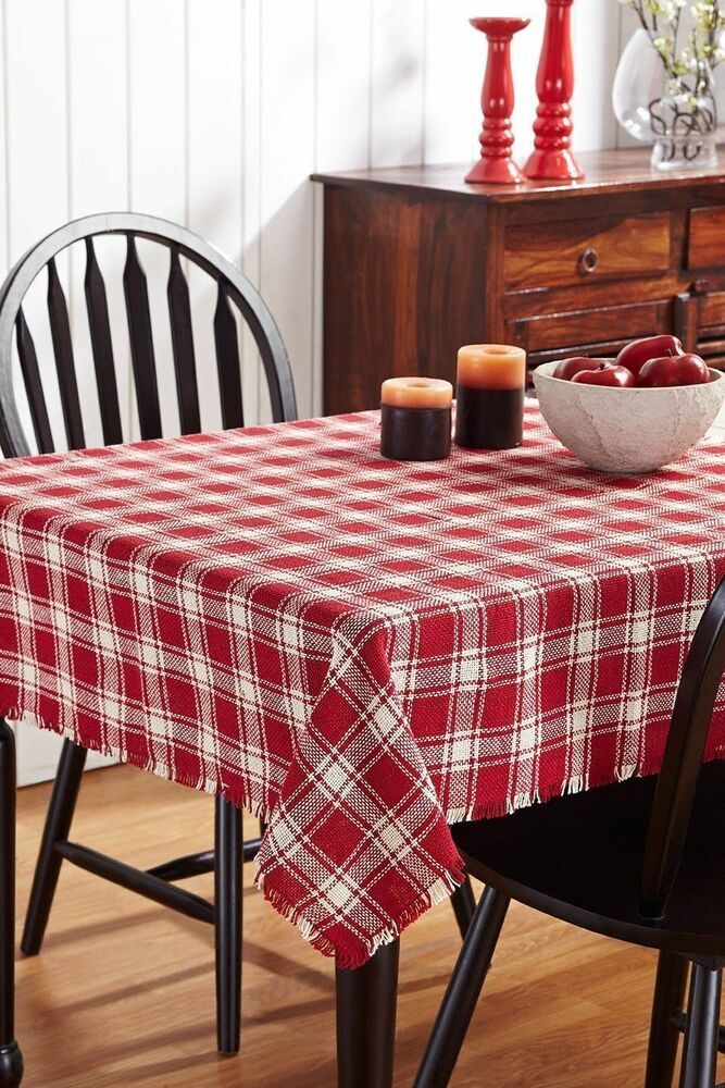 Breckenridge Country Plaid Cotton Burlap Tablecloth Red