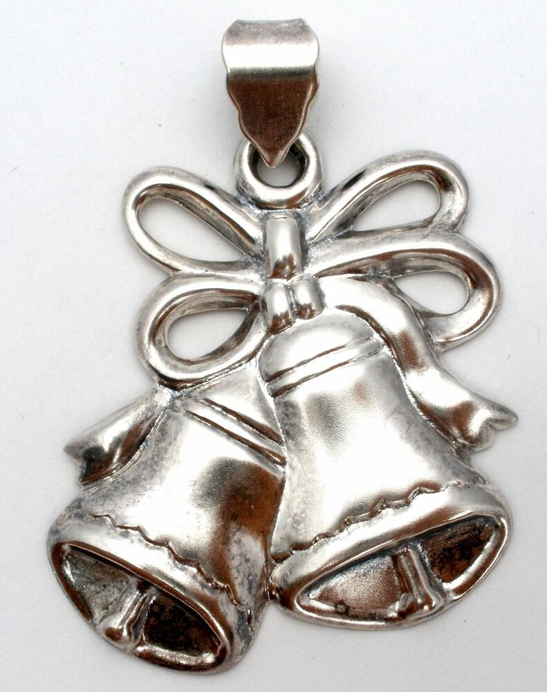 Large sterling silver christmas bell pendant for necklace for Sterling silver christmas jewelry