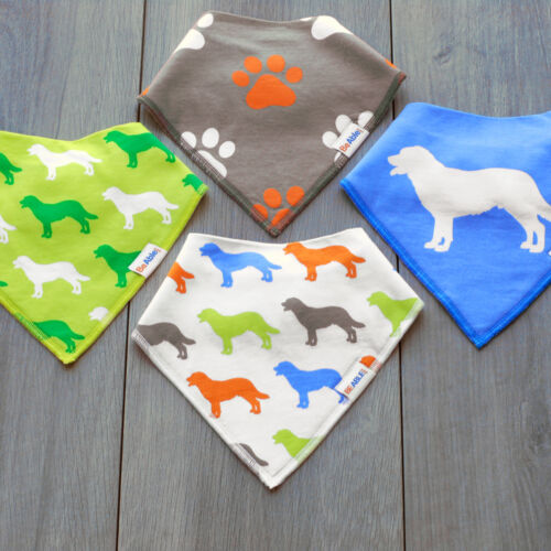 Organic Cotton Baby Bib Set 4-Pack - Dog Theme - Absorbent, Super Soft w/ Snaps