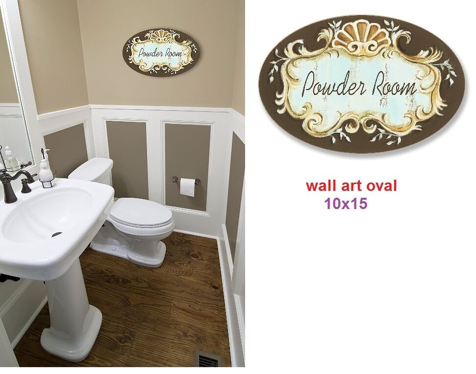 Powder room sign art oval wall mount plaque bathroom toilet decor bath plaques ebay - Oval wall decor ...