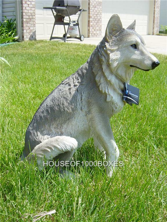Large Wolf Statue Wolves Sitting Cabin Lodge Decor Dakota