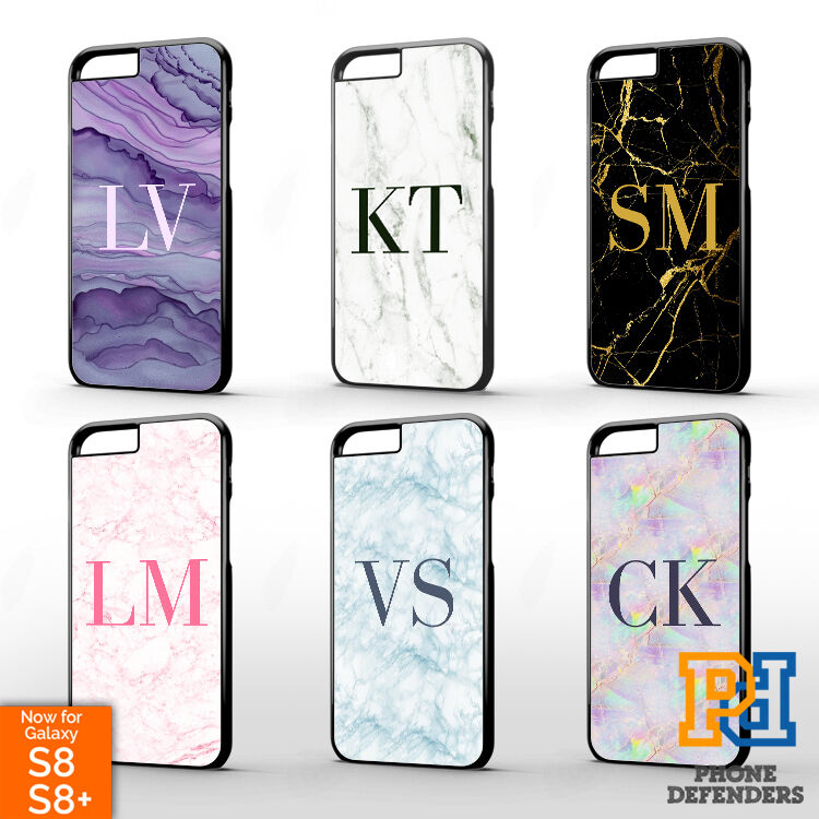 monogram personalised marble initial name gold black phone case cover for iphone