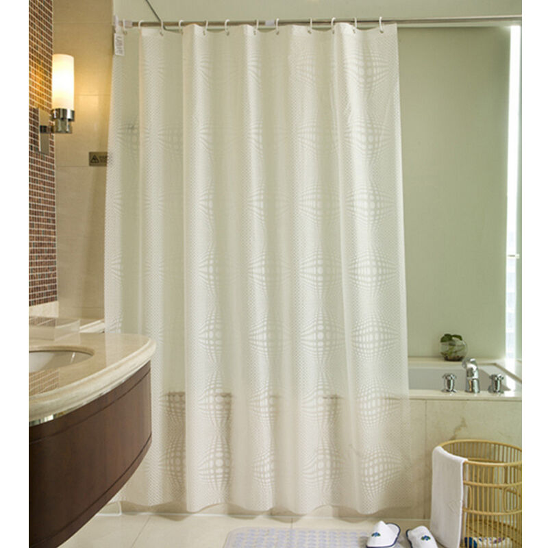 Fabric Shower Curtain Plain White Extra Wide Extra Long Standard With Hooks W
