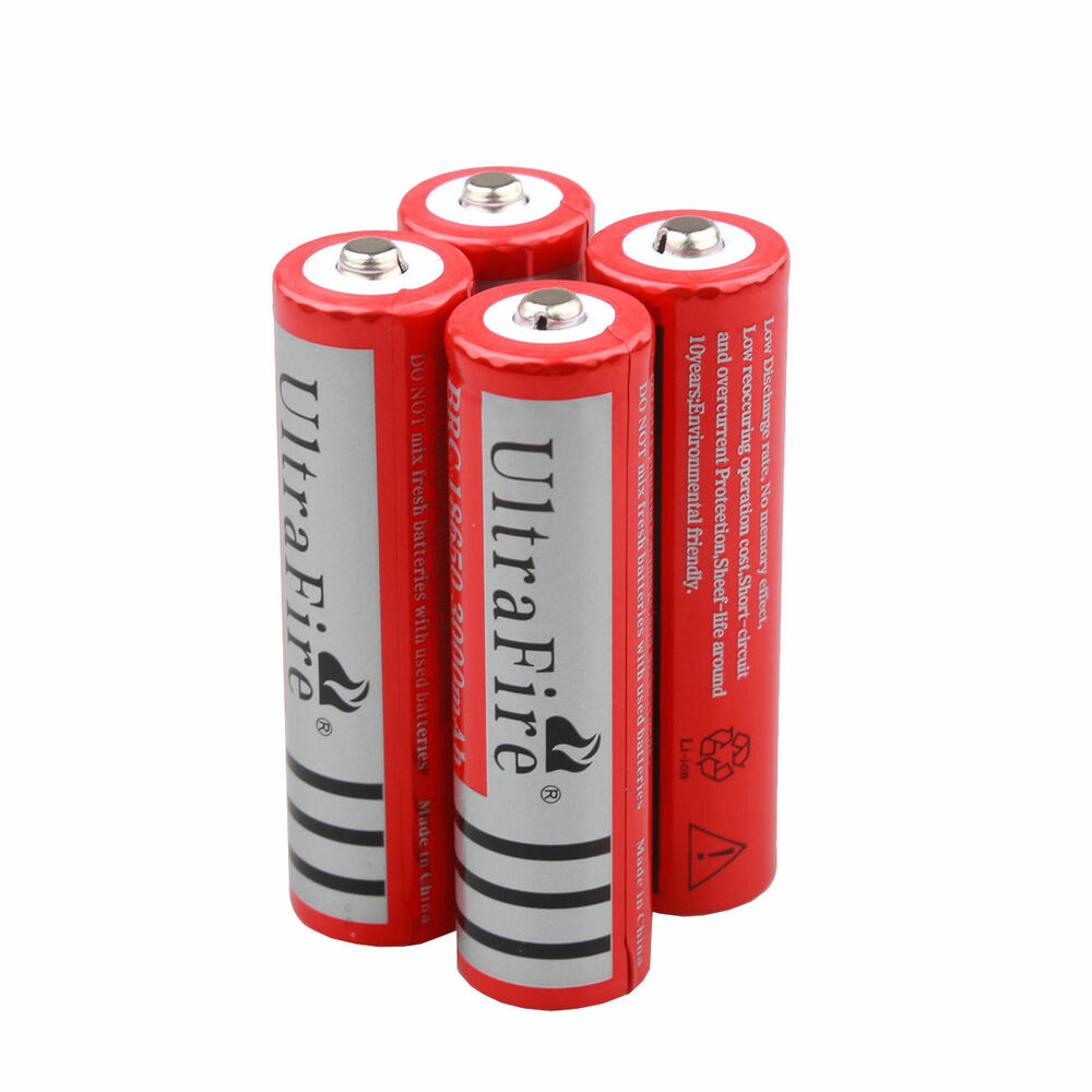 4pcs ultrafire 18650 3000mah li ion rechargeable battery for led flashlight ebay. Black Bedroom Furniture Sets. Home Design Ideas