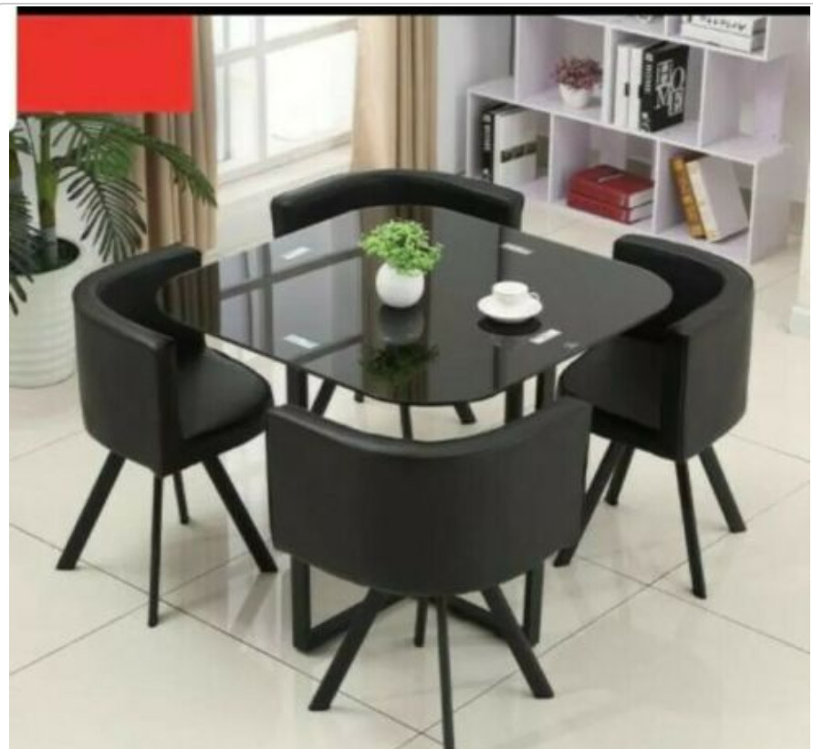NEW MODERN space saver black square Glass Dining Table & 4