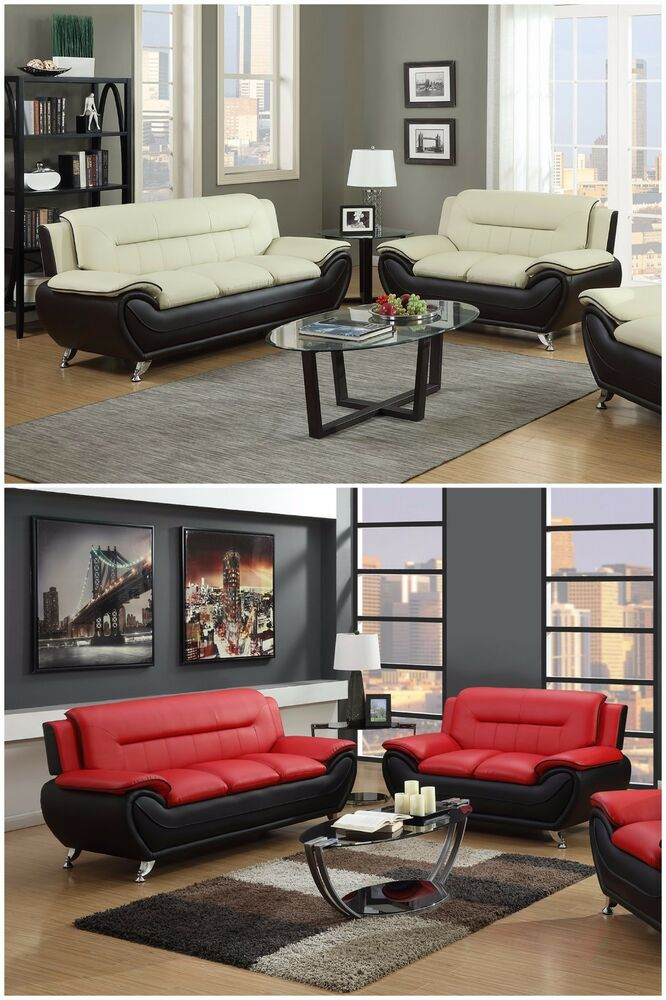 The Room Style Contemporary Bonded Leather Sofa & Loveseat
