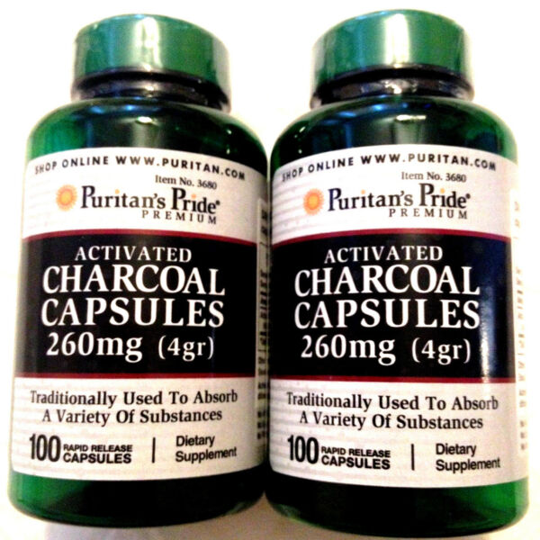 2 Activated Charcoal 260Mg 200 Total Pills Capsules Digestive Detox