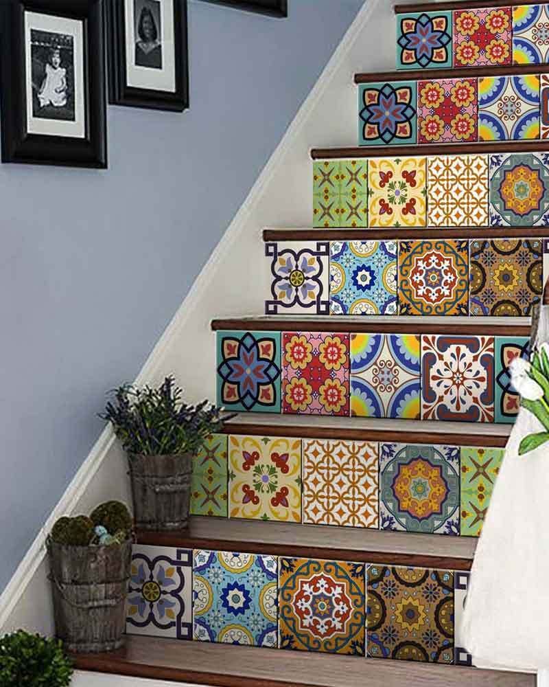 Stairs 24 Set Mexican tile Stickers DIY wall Mural home