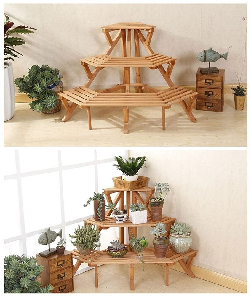 Corner Exhibition Stands Tallahassee : Corner flower pot stand wood tier garden rack space
