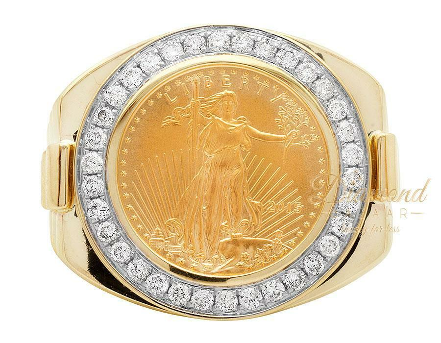 Mens Solid 24k Liberty Coin Big Face 22mm Genuine Diamond