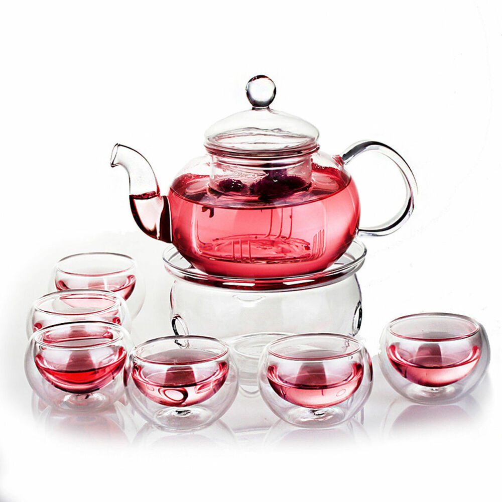 clear glass tea set handle teapot warmer 6 double wall cups xmas gift flower tea ebay. Black Bedroom Furniture Sets. Home Design Ideas