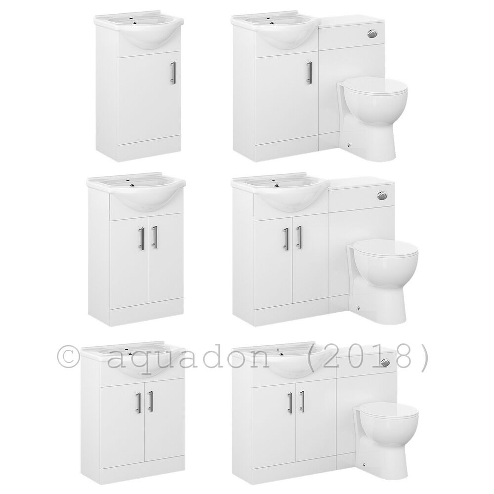Bathroom Vanity Cabinet With WC Toilet White Furniture Unit, Cistern Basin Sink