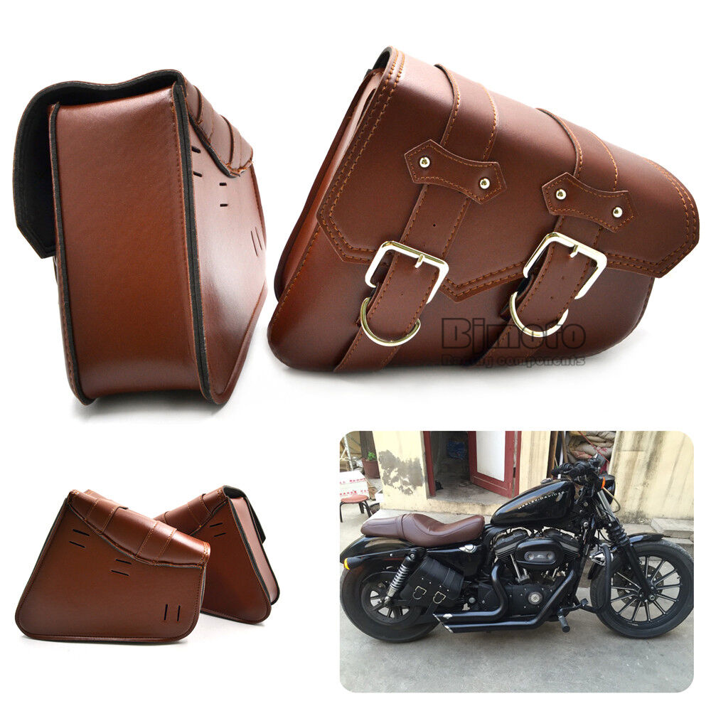 2pcs motorcycle saddle bags side storage tool for harley for Motor cycle saddle bags