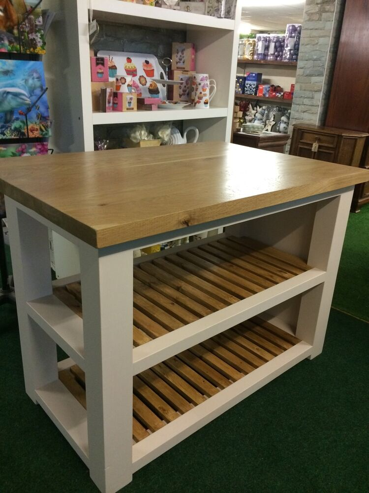 Butcher Block Breakfast Bar Kitchen : Handmade Solid Oak Kitchen Island - Butchers Block-Breakfast Bar-freestanding eBay