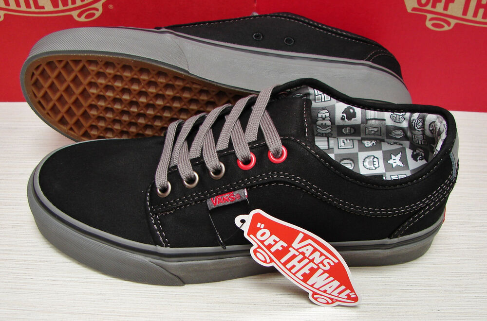 60f8f58bd4d Details about Vans Nintendo Check Chukka Low Black Gray Men s Size 7.5