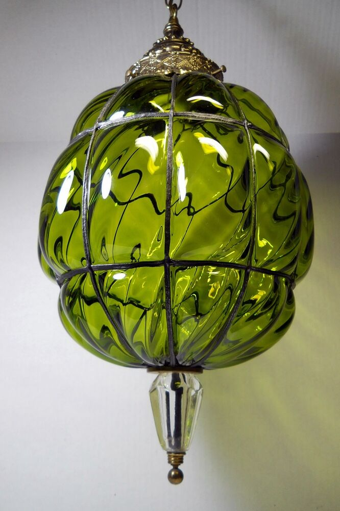 Unusual Vintage Hanging Light Swag Lamp Green Glass ...