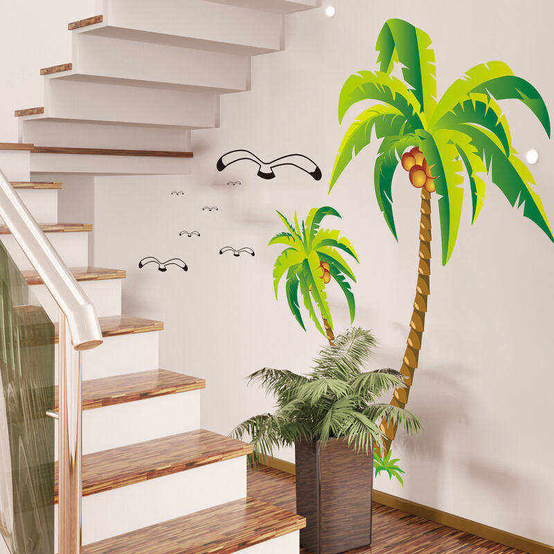 coconut palm trees seagulls removable wall sticker decal art mural home decor ebay. Black Bedroom Furniture Sets. Home Design Ideas