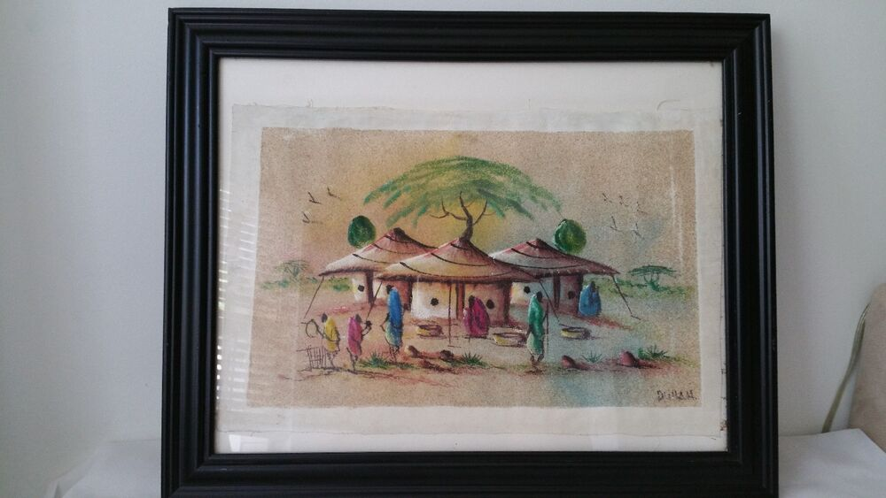 Vintage folk art african sand painting on canvas village scene vintage folk art african sand painting on canvas village scene artist signed ebay sciox Image collections