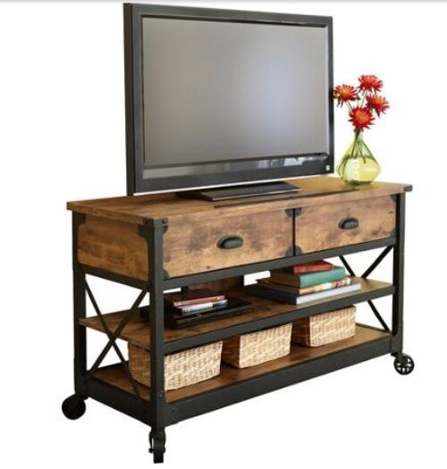 Tv Stand Table Rustic Console Living Room Pine Industrial Media Cabinet Country Ebay