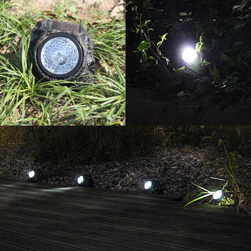Solar powered 4 led rock light lamp rock stone spotlight - Decorative garden lights solar powered ...