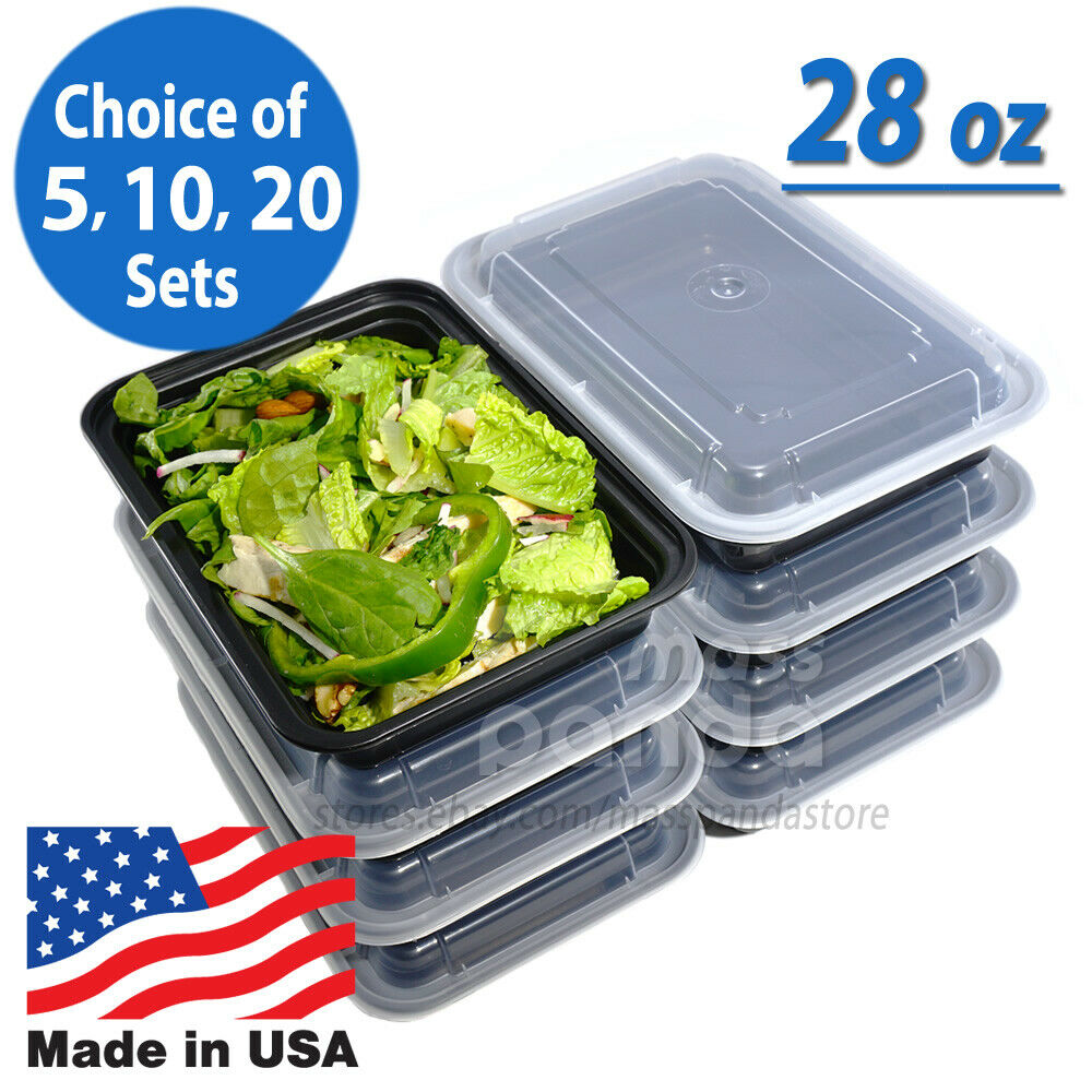 28oz meal prep food containers with lids reusable microwavable plastic bpa free ebay. Black Bedroom Furniture Sets. Home Design Ideas