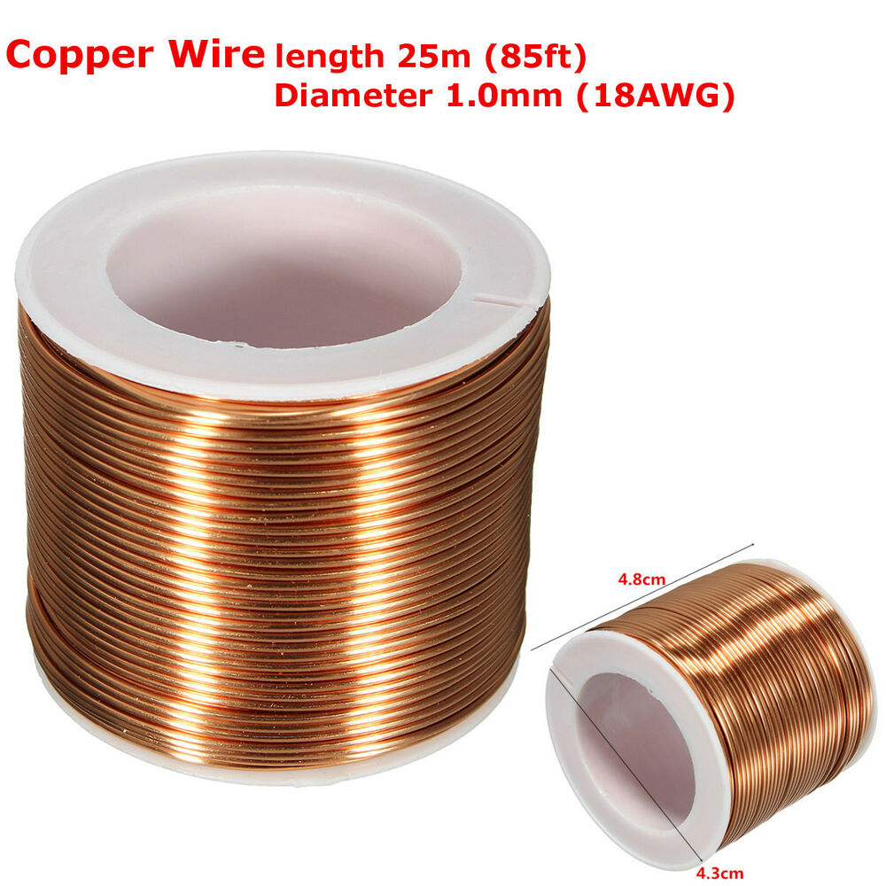 1.0mm×25m 85ft 18GA Copper Magnet Wire Welding Cable Enameled Wire ...