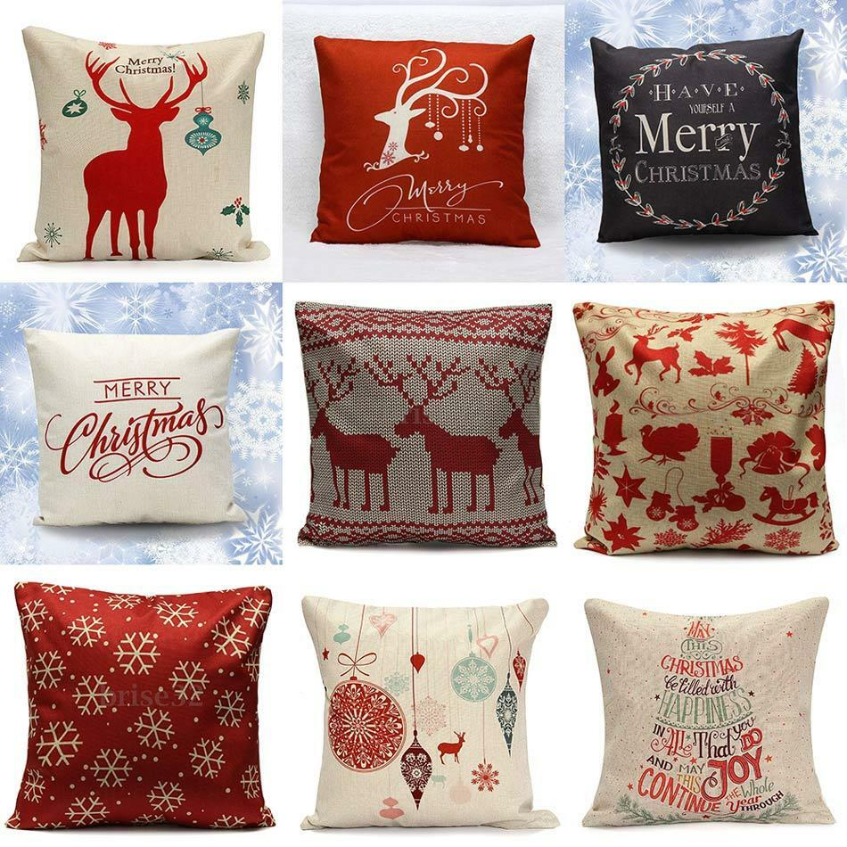 Christmas Xmas Linen Cushion Cover Throw Pillow Case Home: 45x45 CM Christmas Linen Cushion Cover Throw Pillow Case