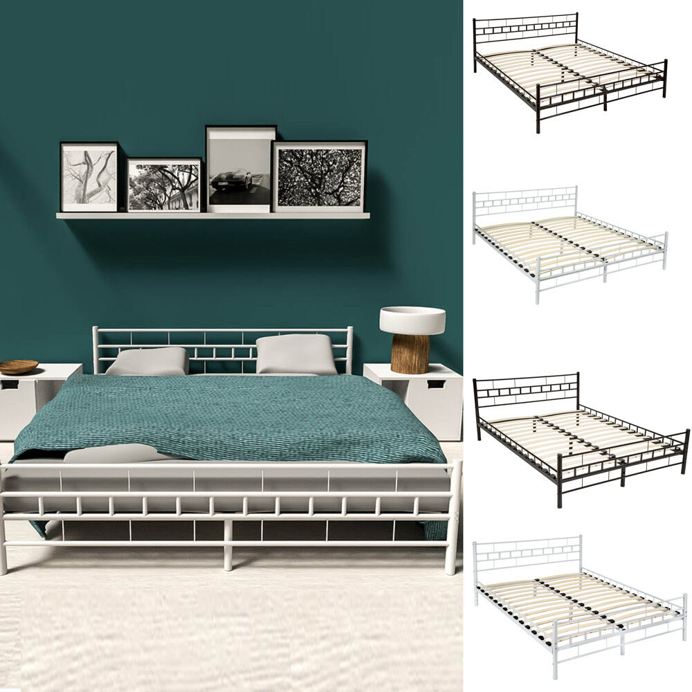lit en m tal design double 2 places cadre de lit sommier lattes ebay. Black Bedroom Furniture Sets. Home Design Ideas
