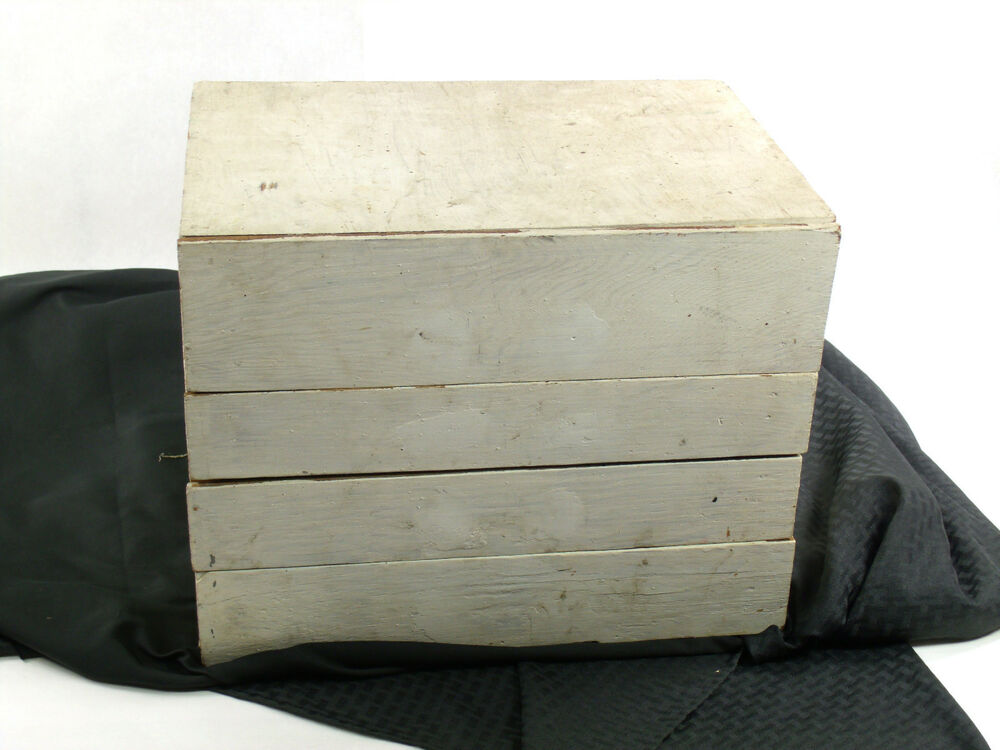Rustic Vintage Hand Made Wood Pegboard Chest Of Drawers Painted White 0