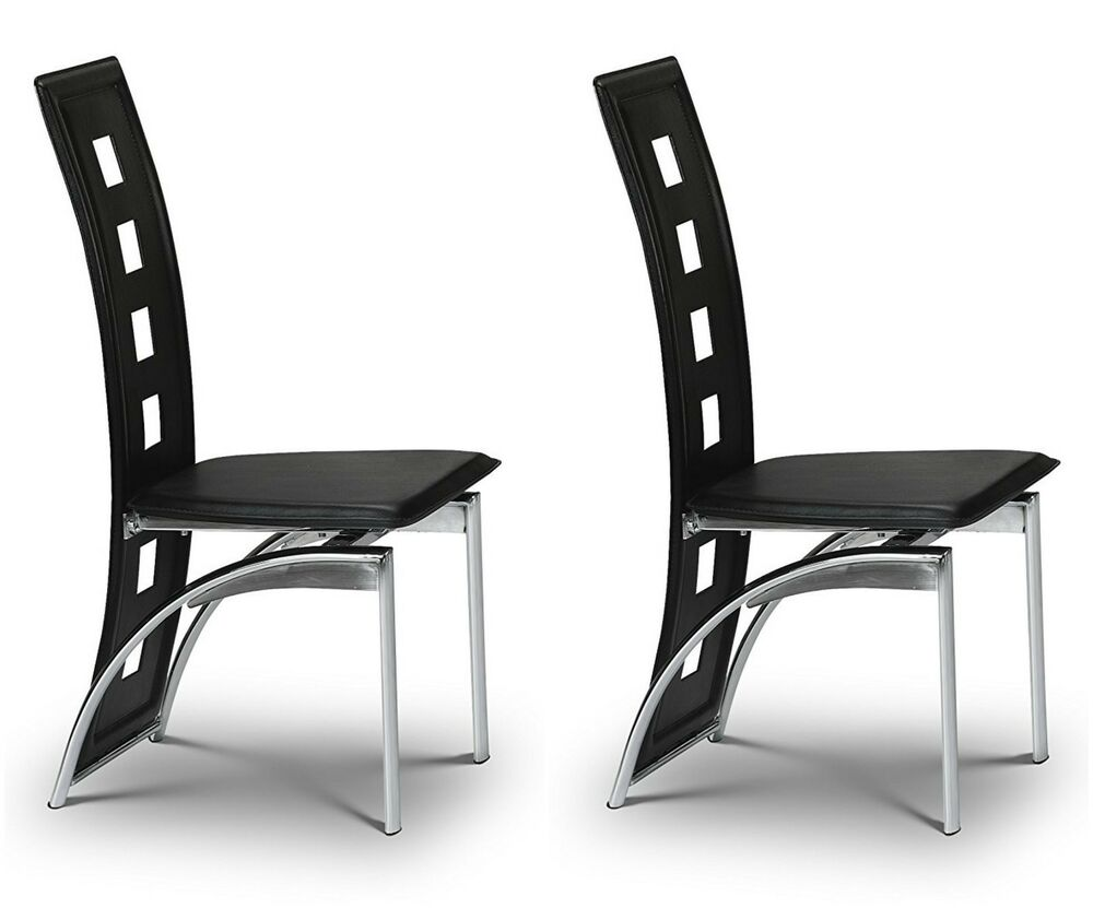 black leather dining room chairs | 2x Dining Chairs Set Black Faux Leather Pair Dining Room ...