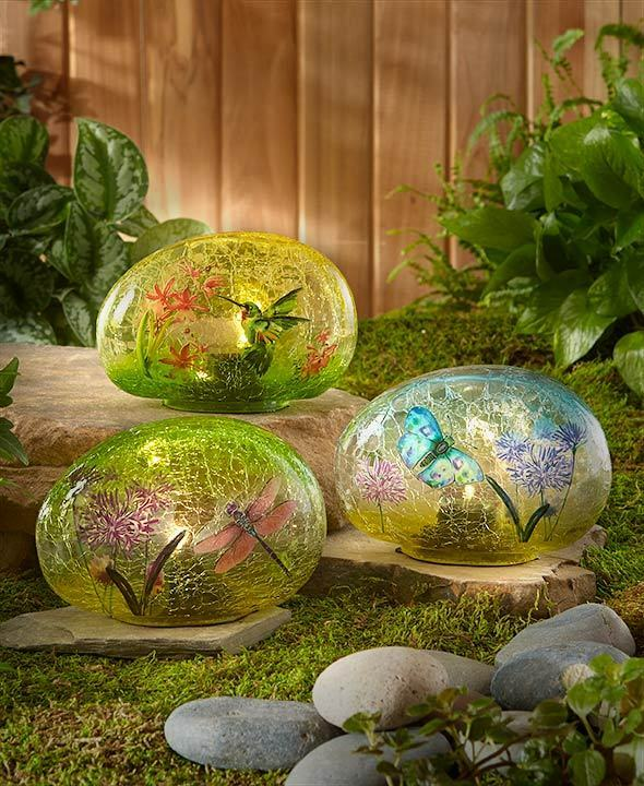 Glass garden stone solar lawn yard decor hummingbird for Outdoor decorating with rocks
